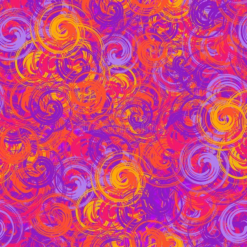 Fondo inconsútil violeta y anaranjado colorido de la primavera de espirales de la brocha imagenes de archivo