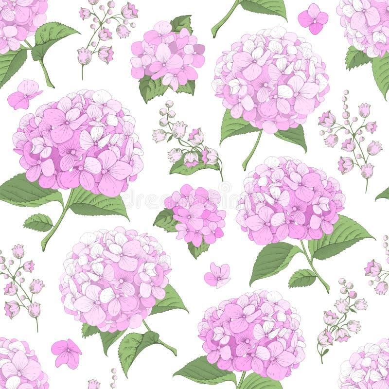 Fondo incons?til con las flores de la hortensia libre illustration