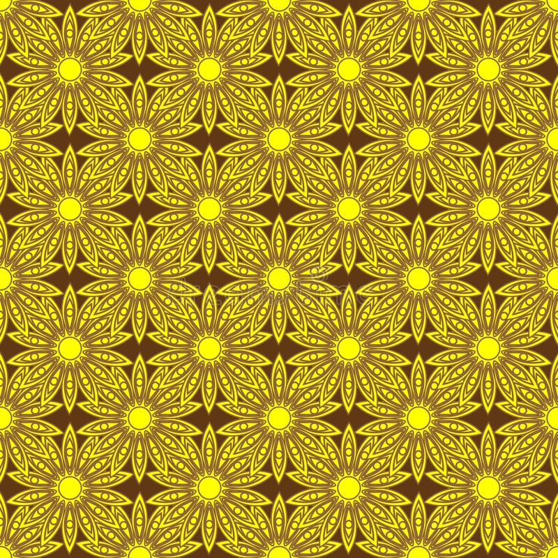 Fondo incons?til con las flores del oro ilustración del vector
