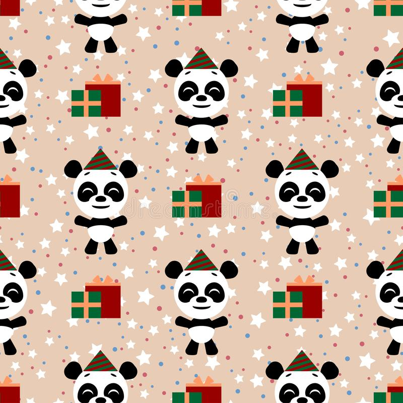 Fondo incons?til del vector Feliz cumplea?os Characte divertido del emoji de la historieta del pequeño panda stock de ilustración