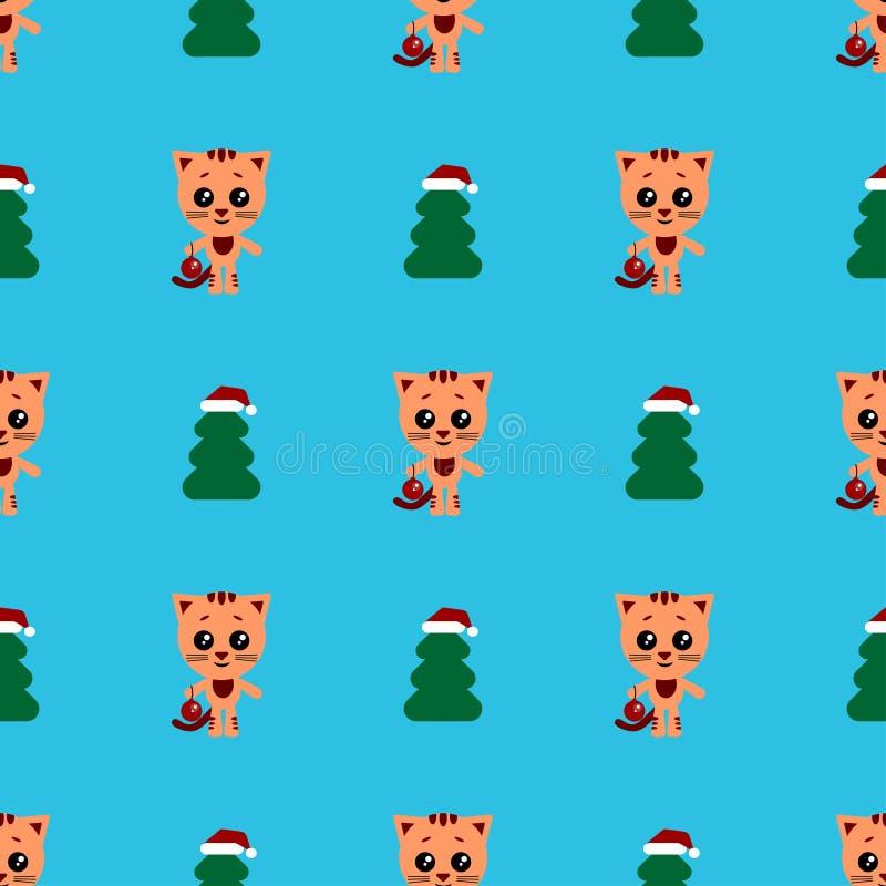 Fondo incons?til del vector Gato de la historieta Gato lindo con la bola del Año Nuevo Carácter y árbol de navidad divertidos Fel ilustración del vector