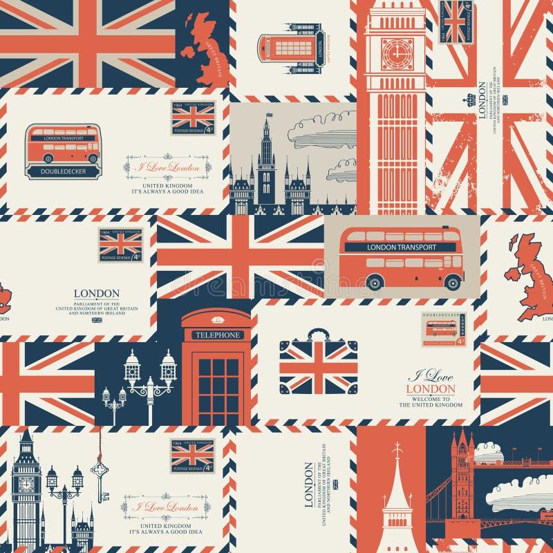 Fondo incons?til en el tema de Reino Unido y de Londres ilustración del vector
