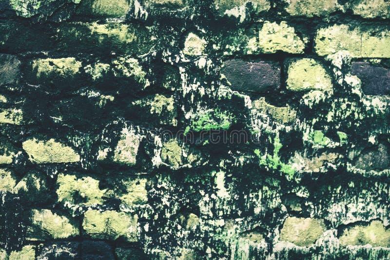 Fondo incrinato abbandonato della parete dello stucco del mattone di lerciume fotografia stock