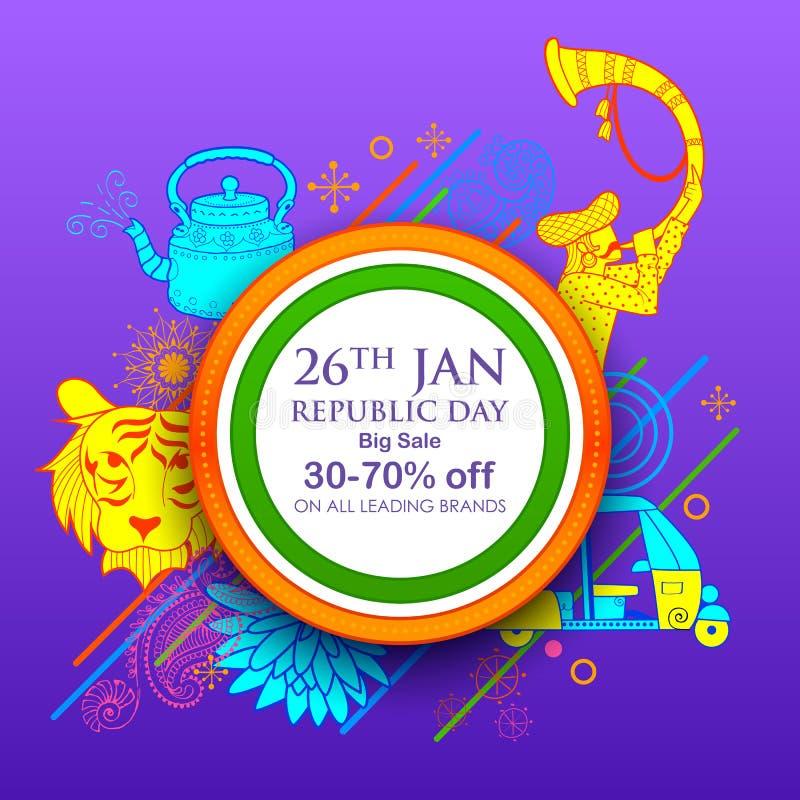 Fondo indiano con tricolore per il giorno felice della Repubblica del 26 gennaio dell'insegna di vendita dell'India e della pubbl illustrazione di stock