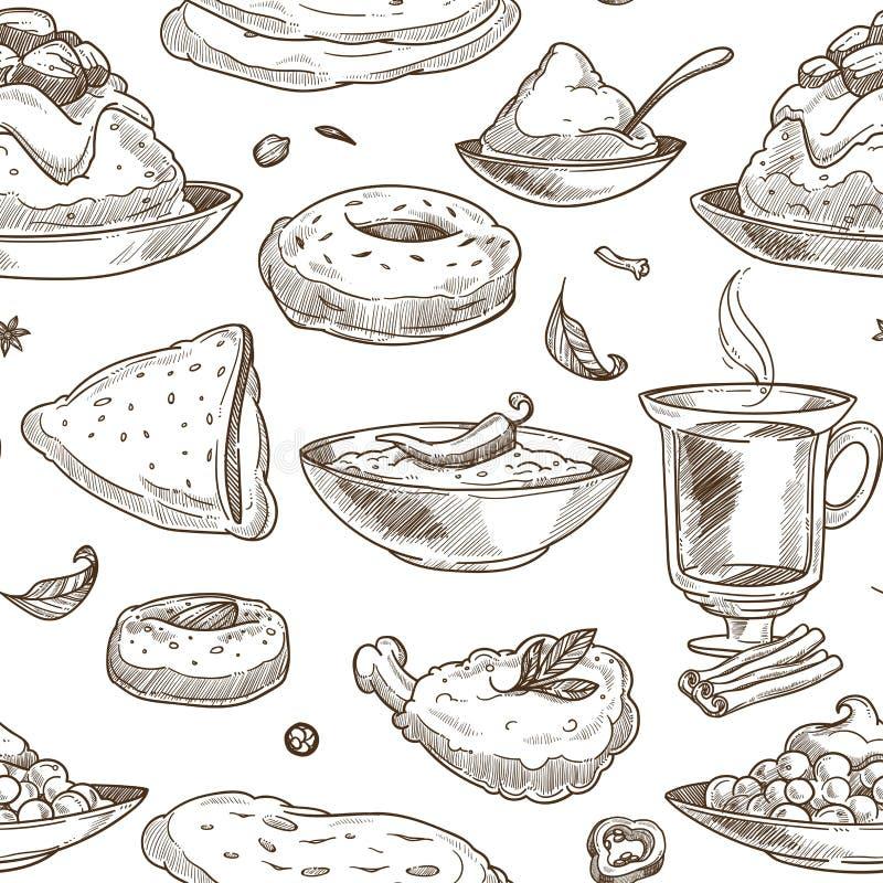 Fondo indiano del modello di schizzo di cucina Disegno senza giunte illustrazione vettoriale