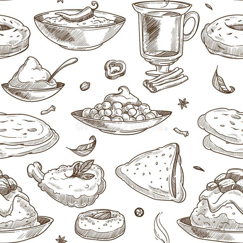 Fondo indiano del modello di schizzo di cucina Disegno senza giunte illustrazione di stock