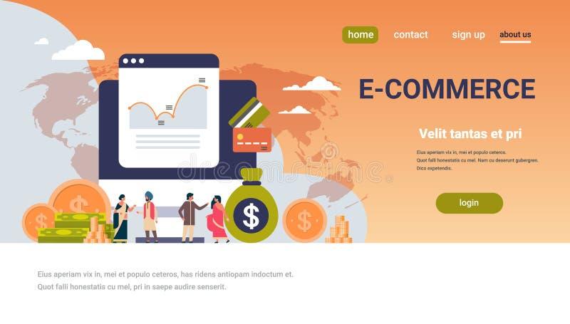 Fondo indiano della mappa di mondo di analisi di finanza di lavoro di squadra della gente dei soldi di commercio elettronico del  illustrazione di stock
