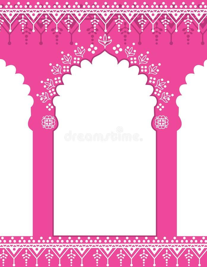 Fondo indiano rosa del portone illustrazione di stock