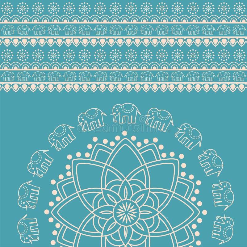 Fondo indio azul y poner crema de la mandala del elefante de la alheña ilustración del vector
