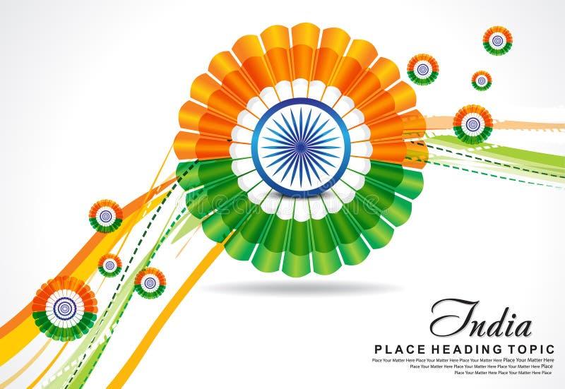 Fondo indio de la onda del día de la república con la flor stock de ilustración
