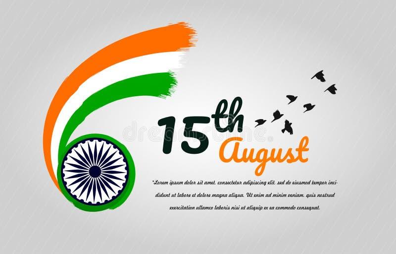 Fondo indio del concepto del D?a de la Independencia con la rueda de Ashoka ilustración del vector