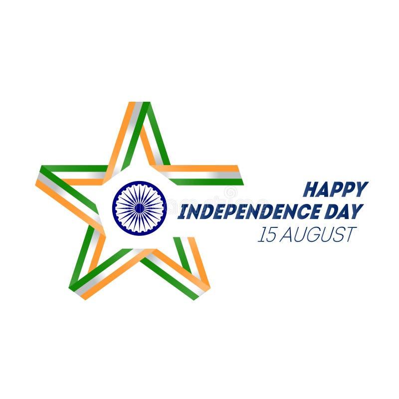 Fondo indio del concepto del Día de la Independencia con la rueda de Ashoka VE stock de ilustración