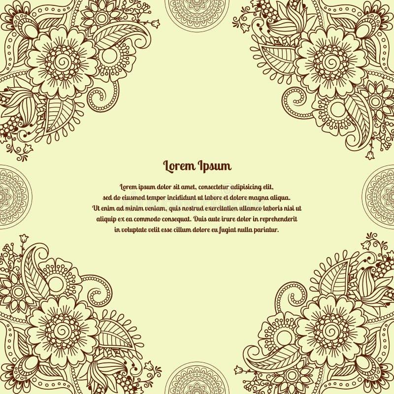 Fondo indio del mehendi de la alheña floral stock de ilustración