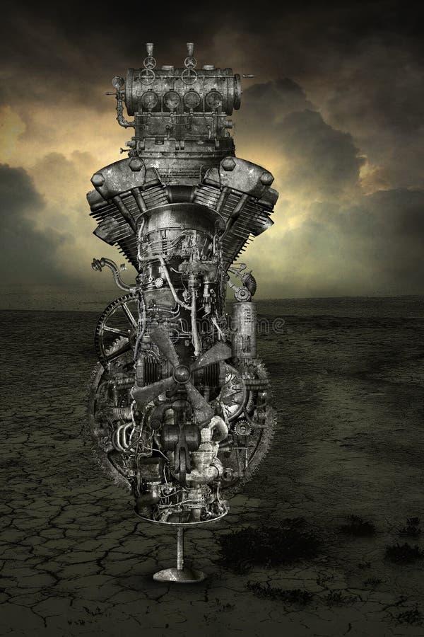 Fondo industrial de la máquina del Grunge de Steampunk stock de ilustración