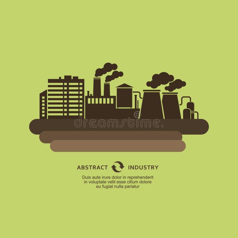 Fondo industrial de la silueta de los edificios de la fábrica ilustración del vector