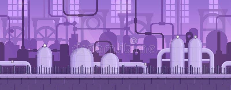 Fondo industrial del juego listo de la paralaje stock de ilustración