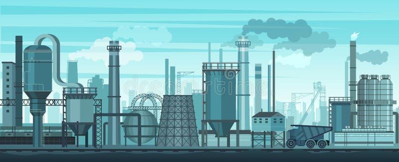 Fondo industrial del paisaje del vector Industria, fábrica y fabricación Problema de la contaminación del ambiente ilustración del vector