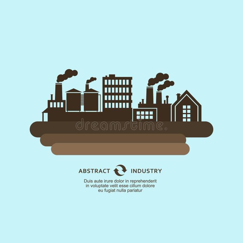Fondo industrial del vector de la silueta de los edificios de la fábrica stock de ilustración