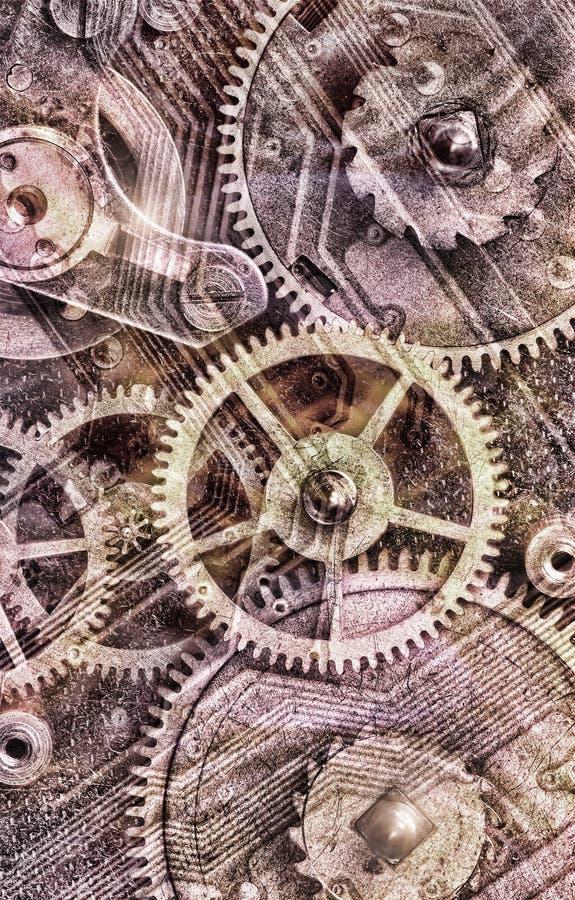 Fondo industrial desaturado con los engranajes imagen de archivo