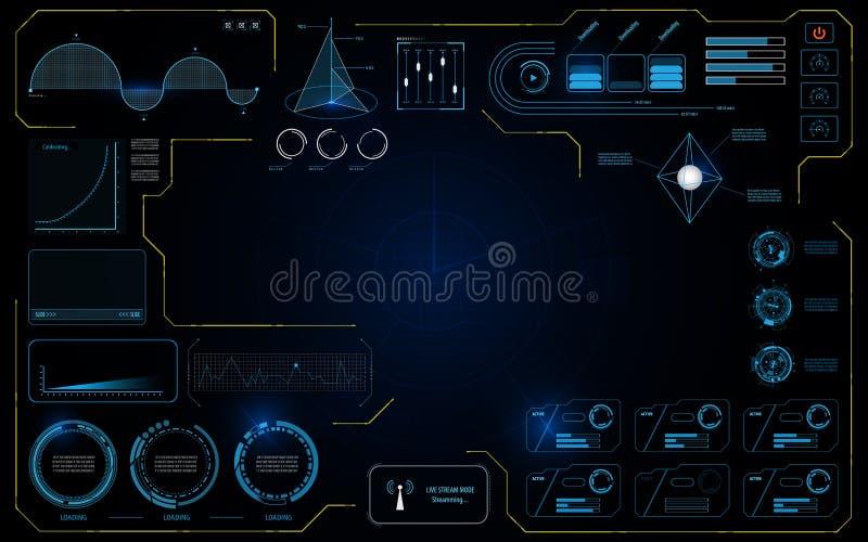 Fondo infographic de trabajo del concepto de diseño de la pantalla de la tecnología de los datos del interfaz UI de Hud stock de ilustración