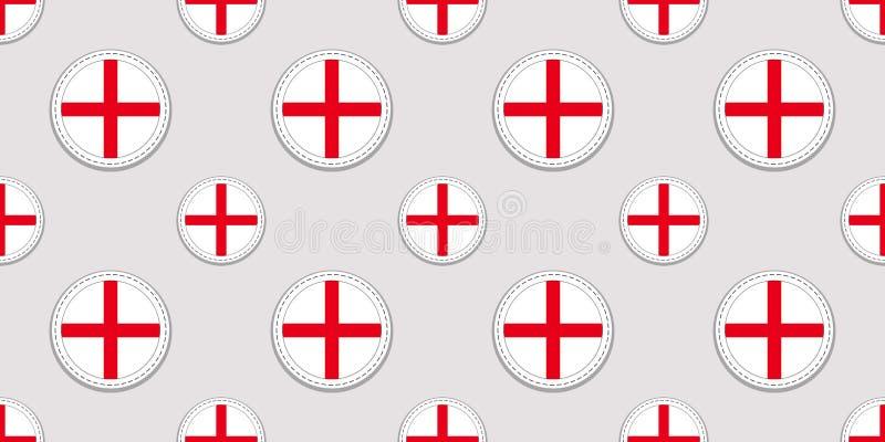 Fondo inglés Modelo inconsútil de la bandera de Inglaterra Iconos redondos del vector Símbolos geométricos del círculo Textura pa stock de ilustración