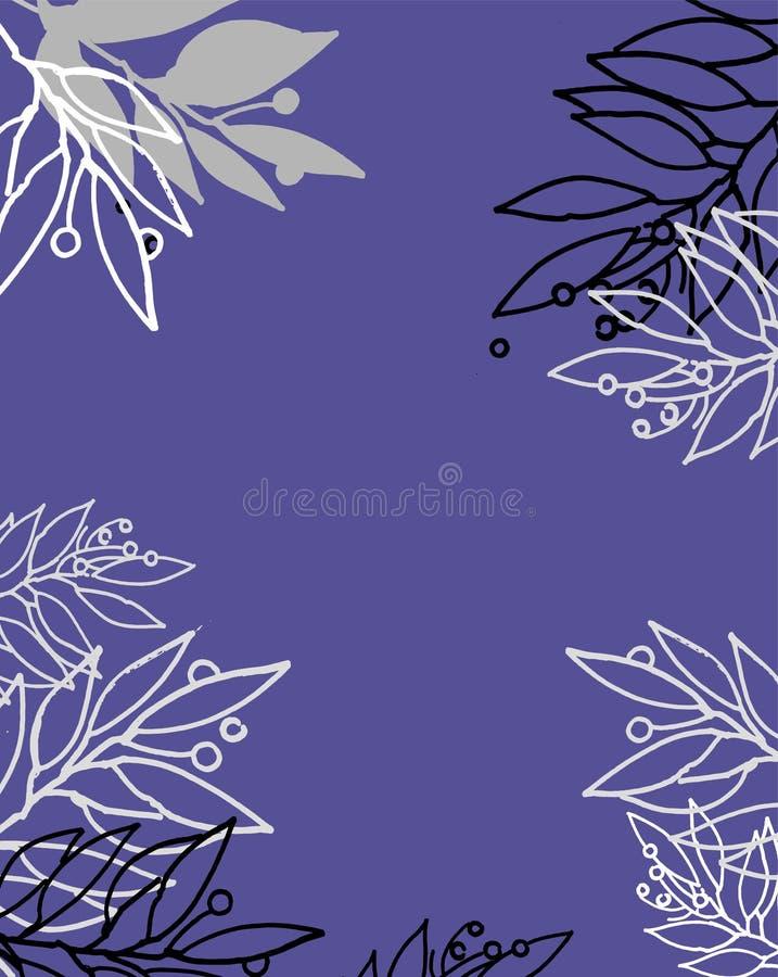Fondo inspirado del azul de cielo con el adorno floral para las tarjetas de felicitación, otros proyectos de diseño Plantilla dib ilustración del vector