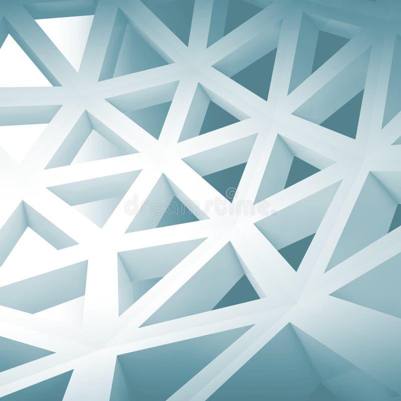 Fondo interior abstracto 3d con la construcción de alambre azul libre illustration
