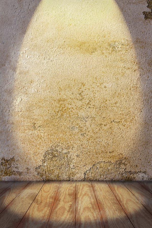 Fondo interior con plan de madera coloreado de la pared y del piso de la piedra imagen de archivo