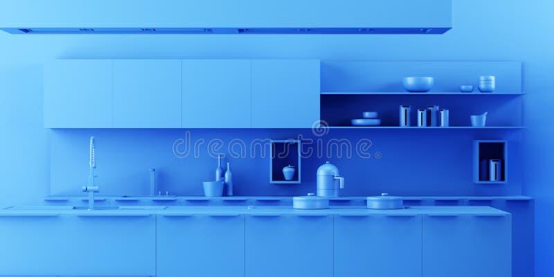 Fondo interior de la cocina en estilo monocromático minimalista ilustración del vector