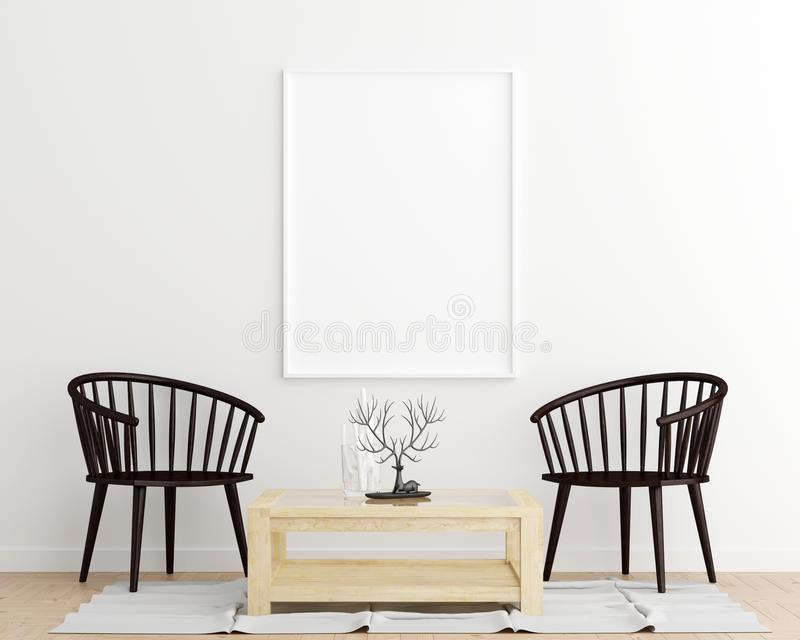 Fondo interior de la sala de estar del marco del cartel de la maqueta libre illustration