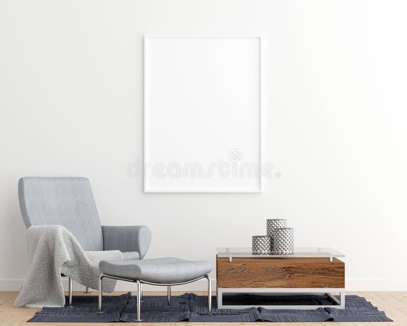 Fondo interior de la sala de estar del marco del cartel de la maqueta ilustración del vector