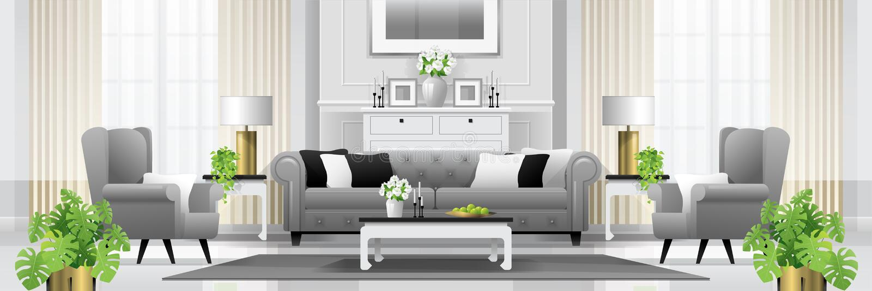 Fondo interior de la sala de estar de lujo con muebles en estilo clásico ilustración del vector
