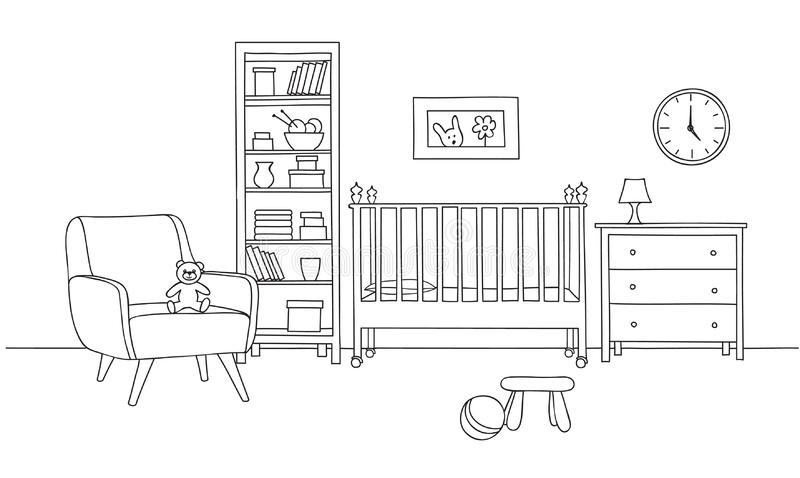 Fondo interior del dormitorio Línea arte del dormitorio del bebé Fu del sitio del niño libre illustration