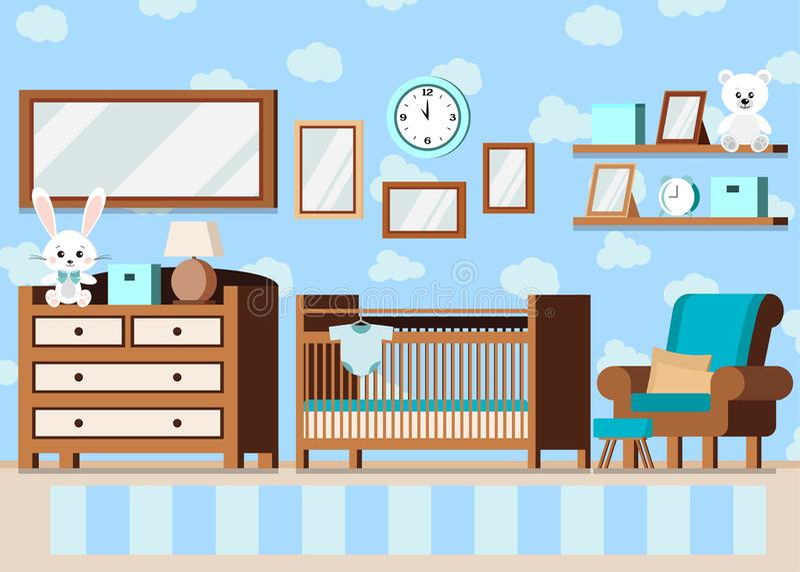 Fondo interior del sitio del bebé del muchacho acogedor en estilo plano de la historieta libre illustration
