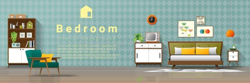 Fondo interior del vintage con el dormitorio moderno de los mediados de siglo stock de ilustración