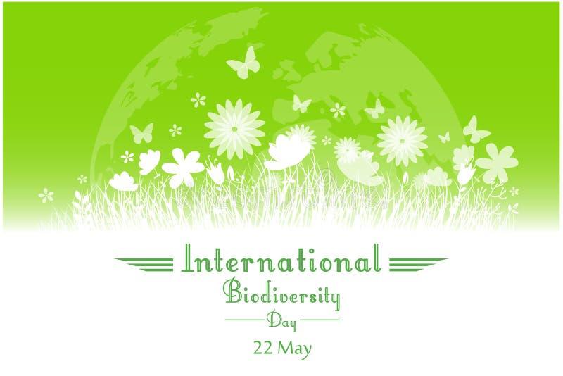 Fondo internacional del día de la biodiversidad con la flor, las mariposas y la silueta de la hierba stock de ilustración