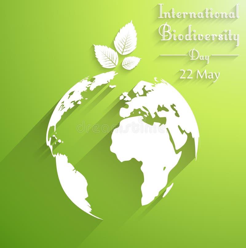 Fondo internacional del día de la biodiversidad con las hojas de las siluetas de la forma libre illustration