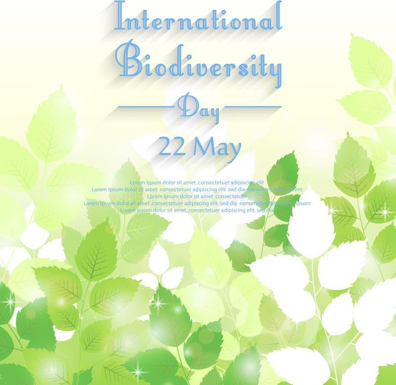 Fondo internacional del día de la biodiversidad con las hojas verdes frescas stock de ilustración