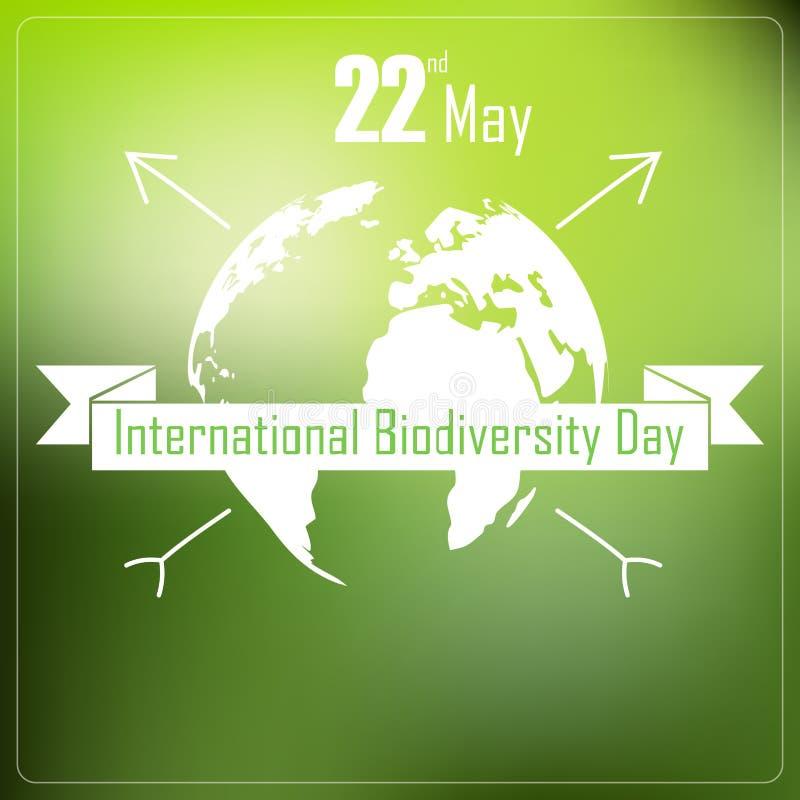 Fondo internacional del día de la biodiversidad con tierra y la cinta una tipografía de la forma libre illustration