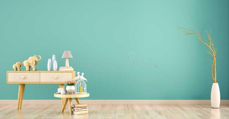 Fondo interno del salone con il gabinetto ed il tavolino da salotto, rappresentazione 3d royalty illustrazione gratis
