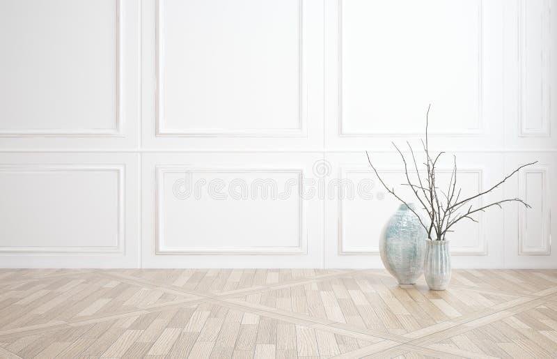 Fondo interno della decorazione con incorniciatura di legno bianca fotografia stock libera da diritti
