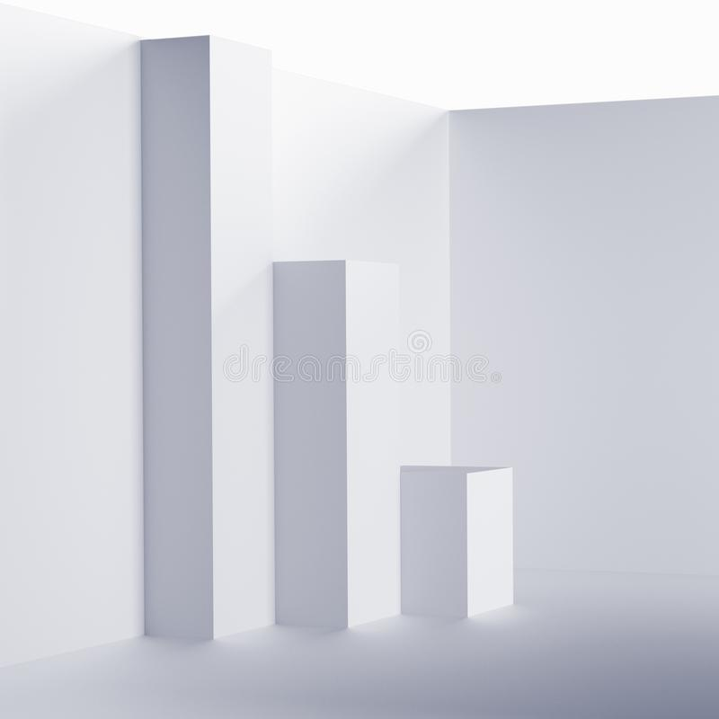 Fondo interno futuristico Concetto astratto bianco del salone Progettazione grafica di Minimalistic illustrazione vettoriale