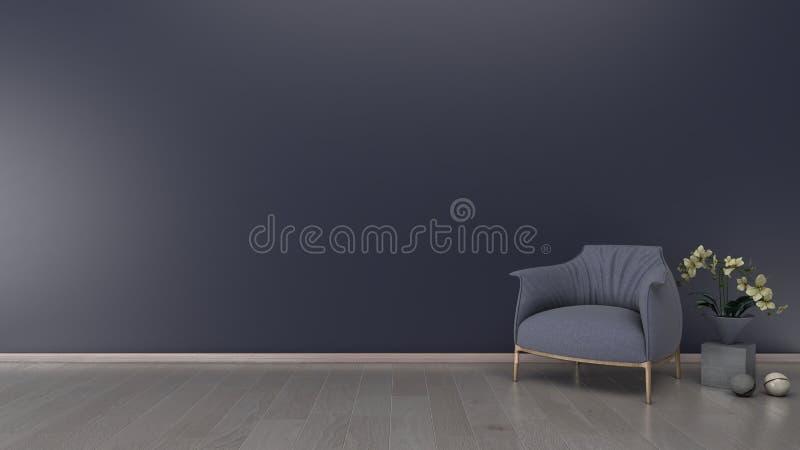 Fondo interno, parete blu, con il sofà, rappresentazione 3d illustrazione vettoriale