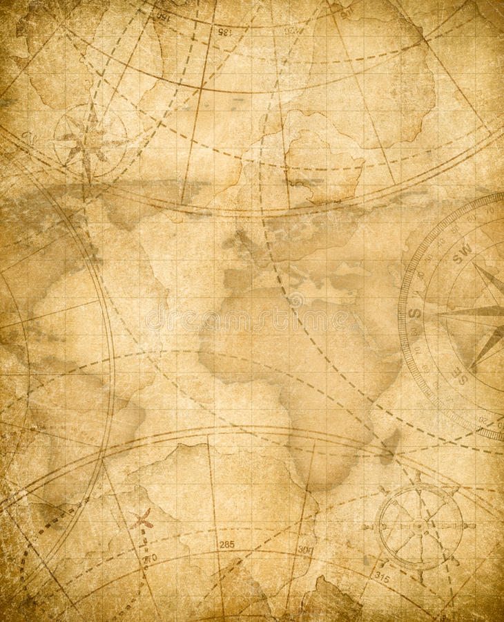 Fondo invecchiato della mappa del tesoro dei pirati illustrazione di stock