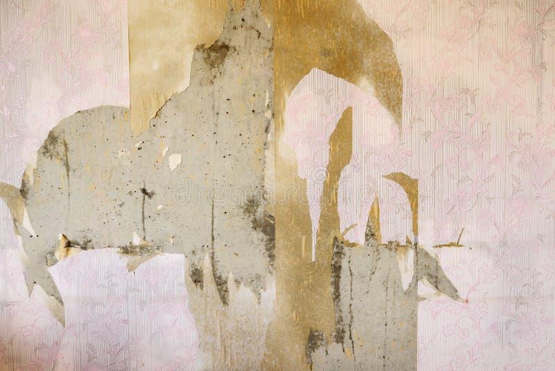 Fondo invecchiato della parete della stanza con la carta da parati d'annata lacerata fotografie stock libere da diritti