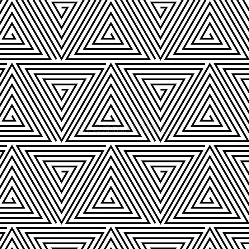 Fondo ipnotico in bianco e nero senza cuciture illustrazione vettoriale