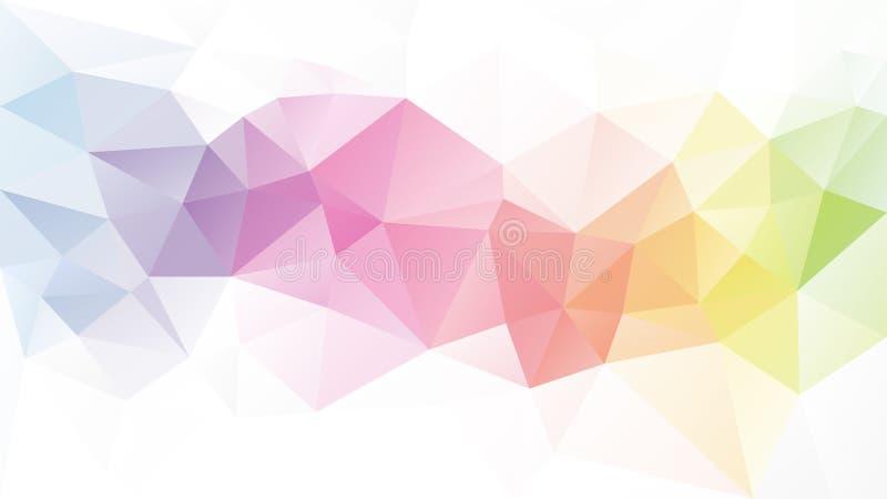 Fondo irregular del polígono del vector - modelo polivinílico bajo del triángulo - tira completa en colores pastel ligera del arc libre illustration