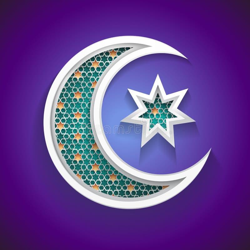 Fondo islámico para el Ramadán - icono creciente de la luna 3d y de la estrella libre illustration