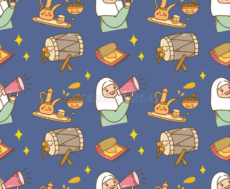 Fondo islamico di scarabocchio del fumetto per il fitr di Al di Eid o la celebrazione del Ramadan royalty illustrazione gratis
