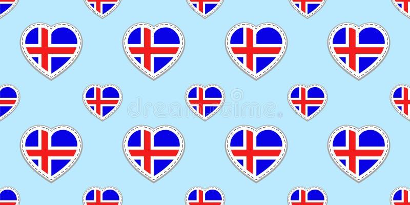 Fondo islandese Modello senza cuciture della bandiera dell'Islanda Progettazione degli autoadesivi di vettore Simboli dei cuori d illustrazione vettoriale